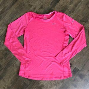 Nike pink miler long sleeve running tee 519833